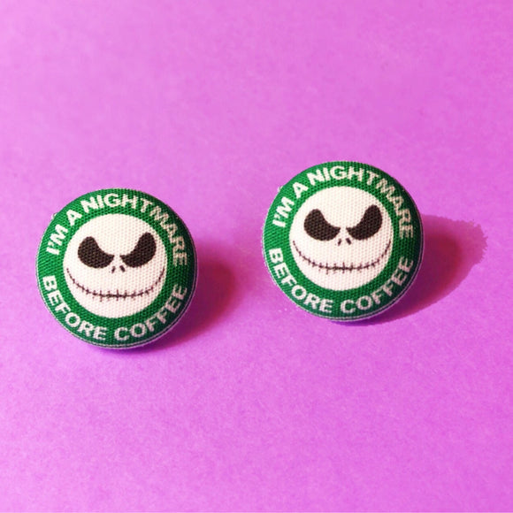Nightmare Before Coffee Jack Skellington Fabric Button Earrings