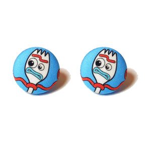 Forky Toy Story Inspired Fabric Button Earrings
