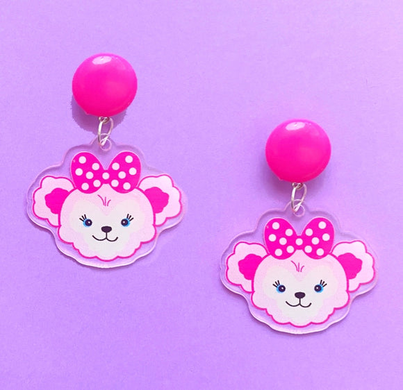 ShellieMae Dark Pink Duffy & Friends Acrylic Drop Earrings