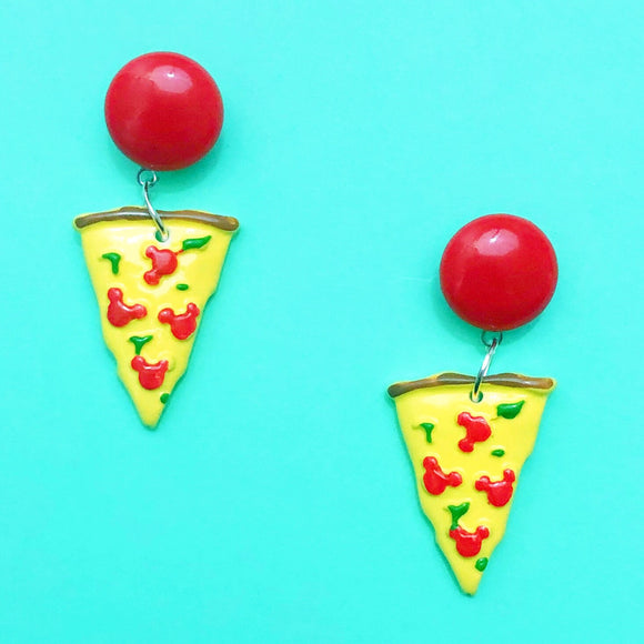 Mouse Pepperoni Pizza Drop Earrings