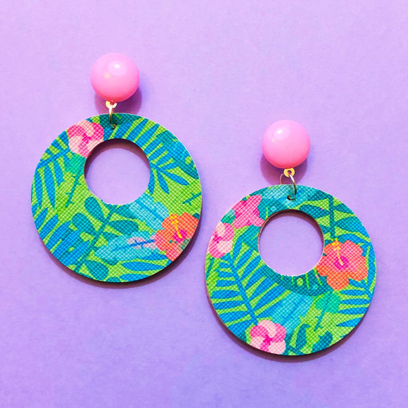 Pink & Aqua Tropical Print Retro Round Drop Earring