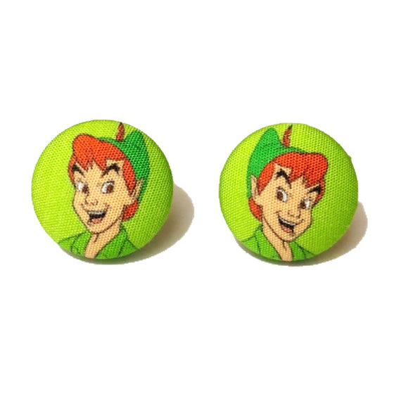 Peter Pan Fabric Button Earrings