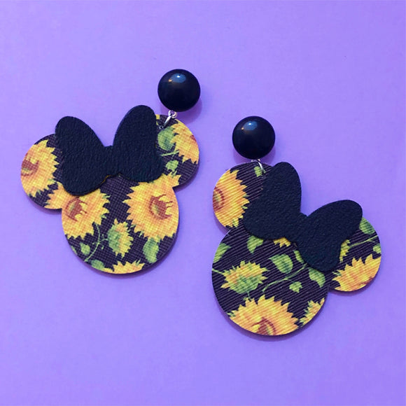 Sunflower Print Minnie Mouse Drop Earrings