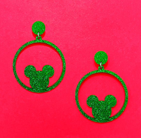 Green Glitter Round Mouse Silhouette Drop Earrings