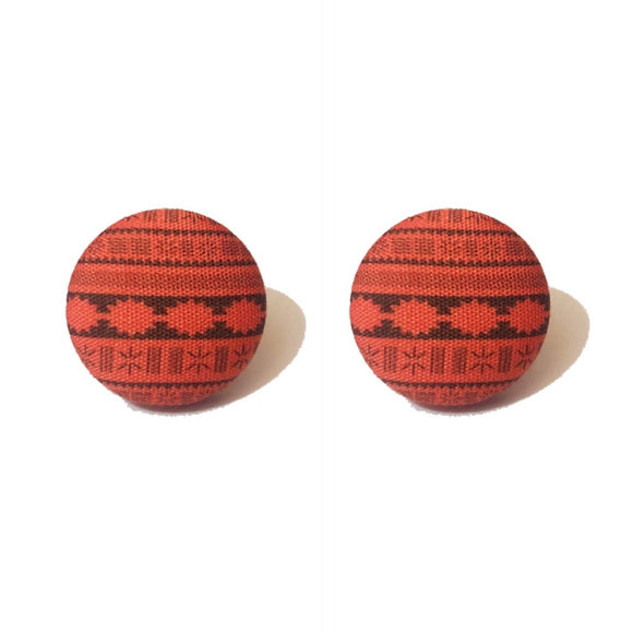 Moana Dress Print Fabric Button Earrings