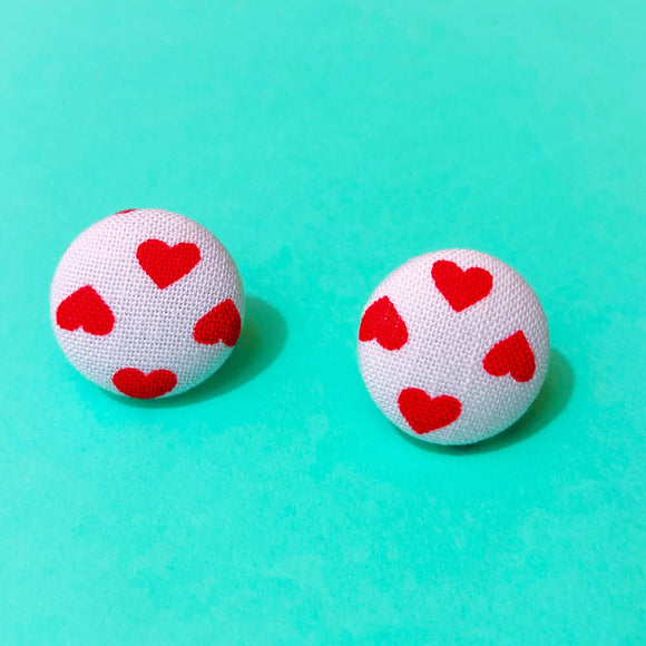 White & Red Heart Fabric Button Earrings