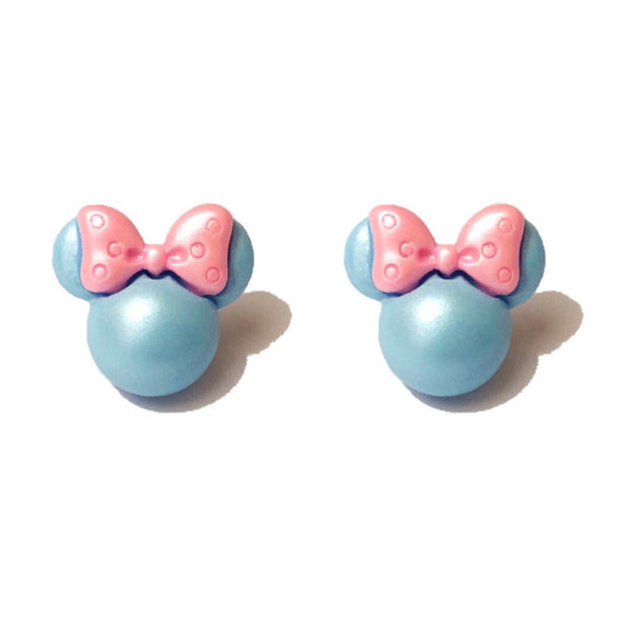 Blue & Pink Pastel Pearlized Minnie Mouse Post Earrings