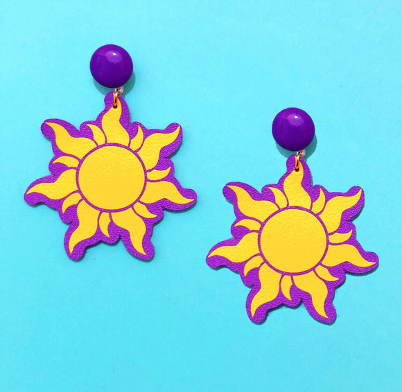 Matte Tangled Sun Rapunzel Drop Earrings