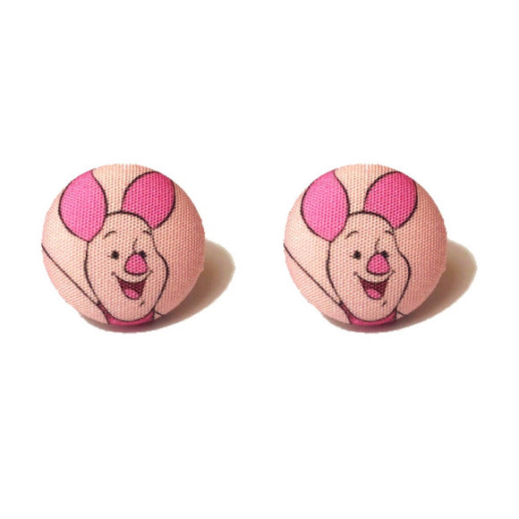 Piglet Winnie The Pooh Inspired Fabric Button Earrings