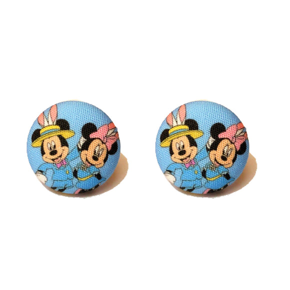 Spring Minnie & Mickey Dapper Easter Fabric Button Earrings