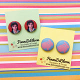 Uncle Jesse John Stamos Inspired Full House Fabric Button Earrings