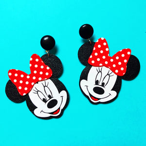 Minnie Mouse Red Polka Dot Bow Drop Earrings