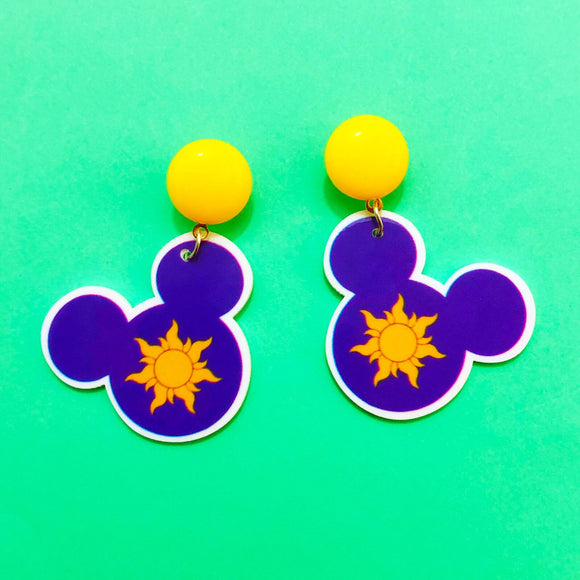 Tangled Sun Mouse Drop Earrings