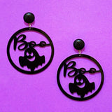 "Black ""Boo"" Ghost Silhouette Round Acrylic Drop Earrings"