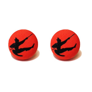 Warrior Mulan Silhouette Fabric Button Earrings