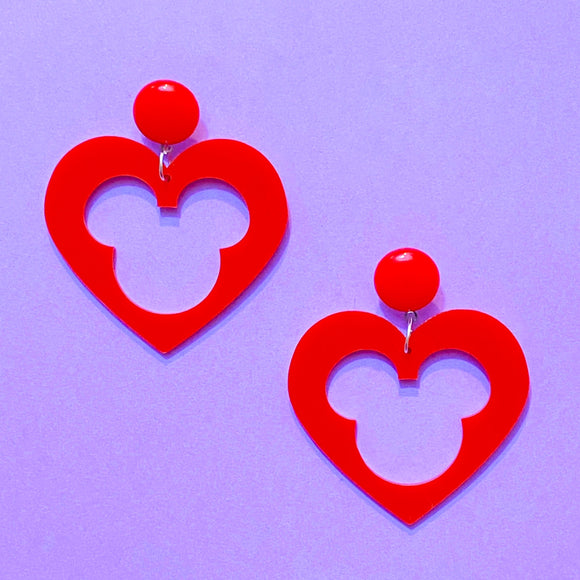 Red Heart Mouse Center Acrylic Drop Earrings