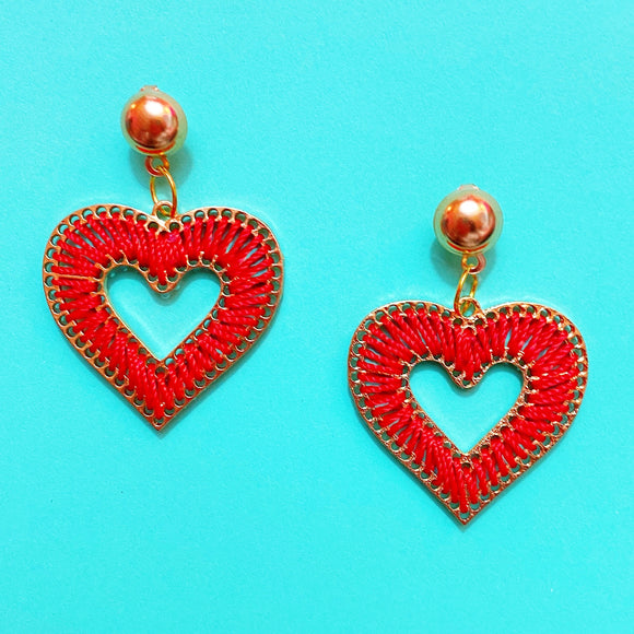 Red & Gold Woven Heart Drop Earrings