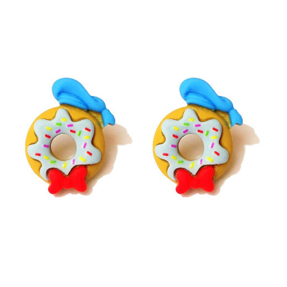 Donald Duck Donut Post Earrings