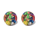 """Belle & Prince"" Beauty & The Beast Stained Glass Fabric Button Earrings"