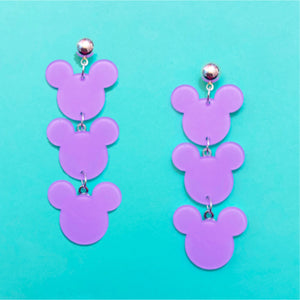 Pastel Lavender Purple Triple Mouse Drop Earrings