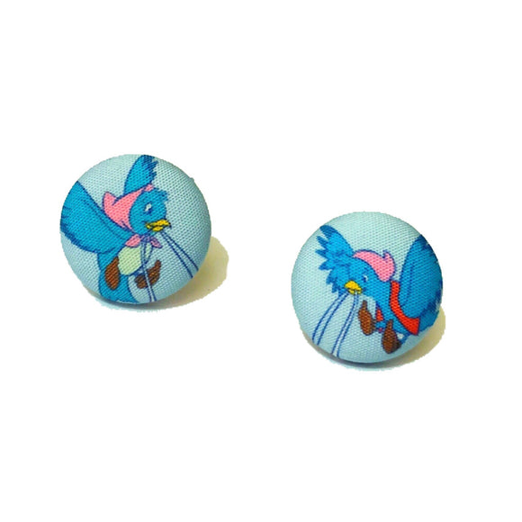 Cinderella Blue Birds Fabric Button Earrings