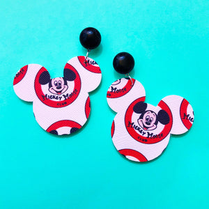 Mickey Mouse Club Print Mouse Head Drop Earrings