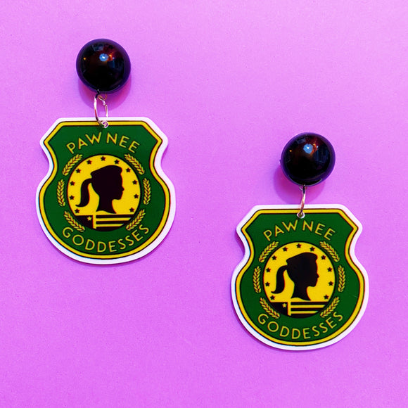 Pawnee Goddesses Parks & Recreation Acrylic Drop Earrings