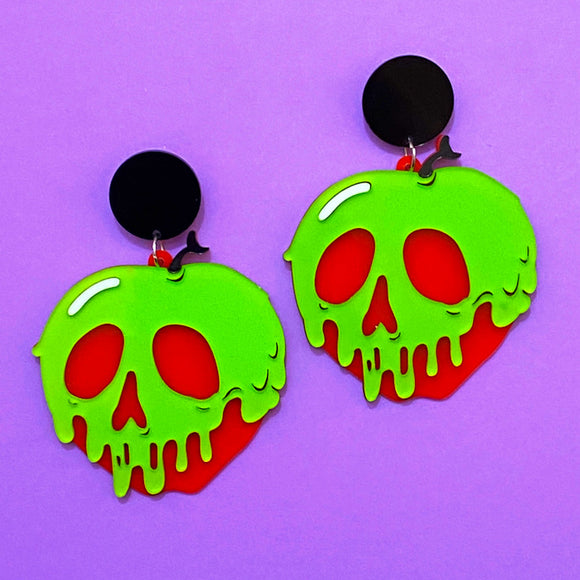 Poison Apple Matte Large Acrylic Drop Earrings
