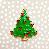 Merry Mousemas Tree Mickey Christmas Enamel Pin Brooch Gold