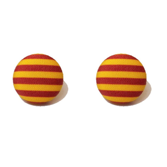 Gryffindor Stripes Harry Potter Inspired Fabric Button Earring