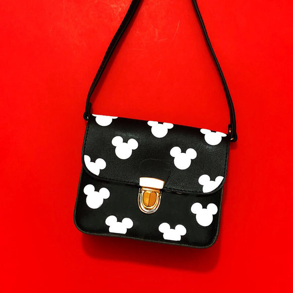 Black & White Mouse Print Square Purse