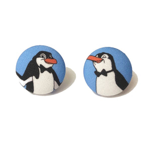 Poppins Penguins Jolly Holiday Fabric Button Earrings