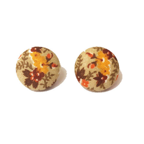 """Sierra"" Fall Autumn Floral Fabric Button Earrings"