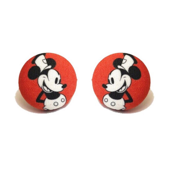 Red Steamboat Willie Mickey Mouse Fabric Button Earrings