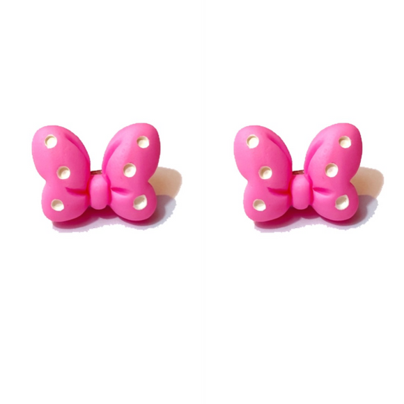 Bright Pink Polka Dot Mouse Bow Post Earrings