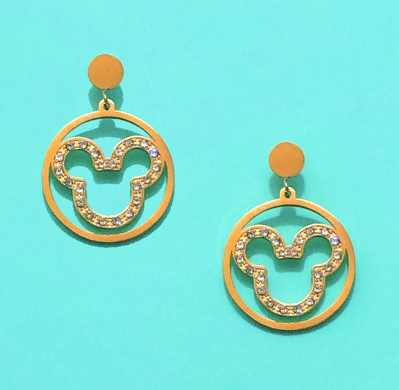 Gold Round Sparkle Outline Drop Earrings