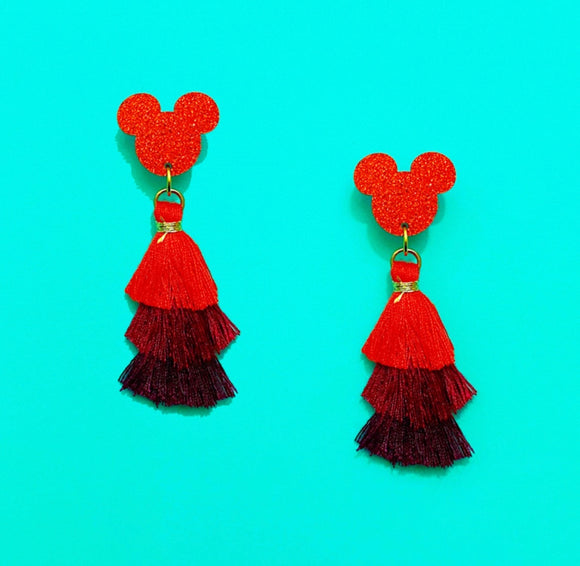Red Gradient Mini Sparkle Mouse Triple Tier Tassel Drop Earrings