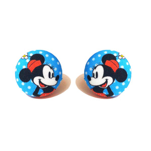 Vintage Minnie Fabric Button Earrings