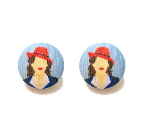Agent Carter Inspired Fabric Button Earrings