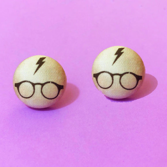 Harry Potter Glasses Silhouette Fabric Button Earring