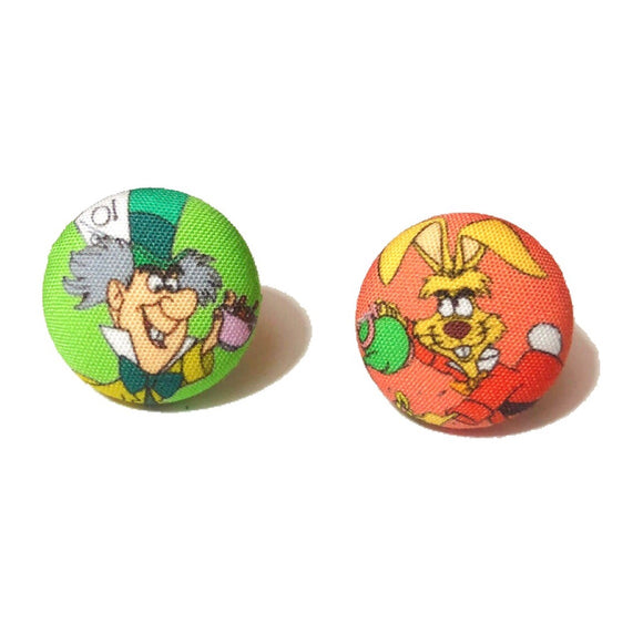 Mad Hatter & March Hare Alice in Wonderland Inspired Fabric Button Earrings