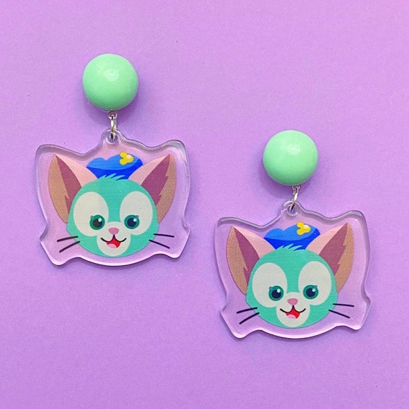 Gelatoni Cat Duffy & Friends Acrylic Drop Earrings