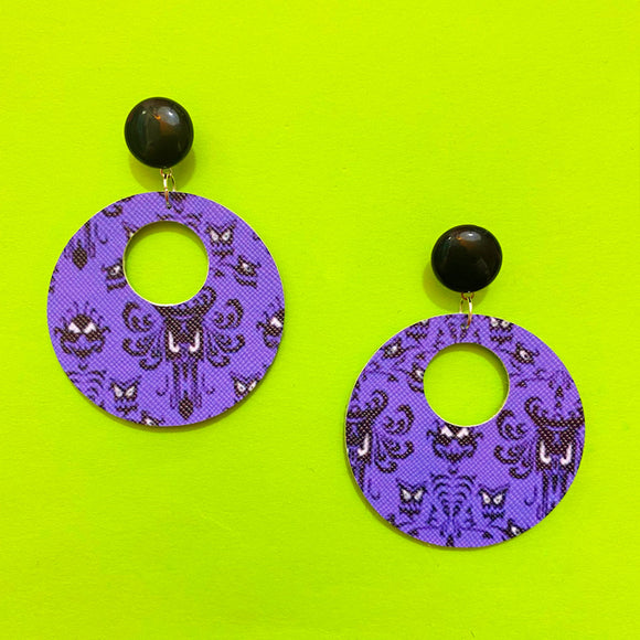 Haunted Mansion Wallpaper Print Retro Round Drop Earrings