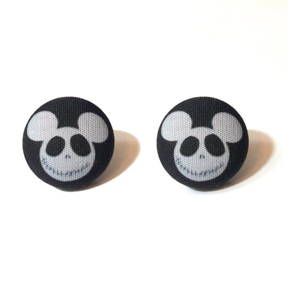 Jack Skellington Mouse Fabric Button Earrings
