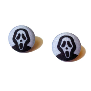Ghostface Scream Movie Halloween Fabric Button Earrings