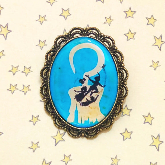 Off To Neverland Peter Pan Bronze Silhouette Cameo Brooch