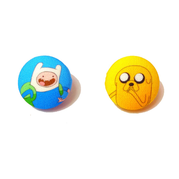 Finn & Jake Adventure Time Inspired Fabric Button Earrings