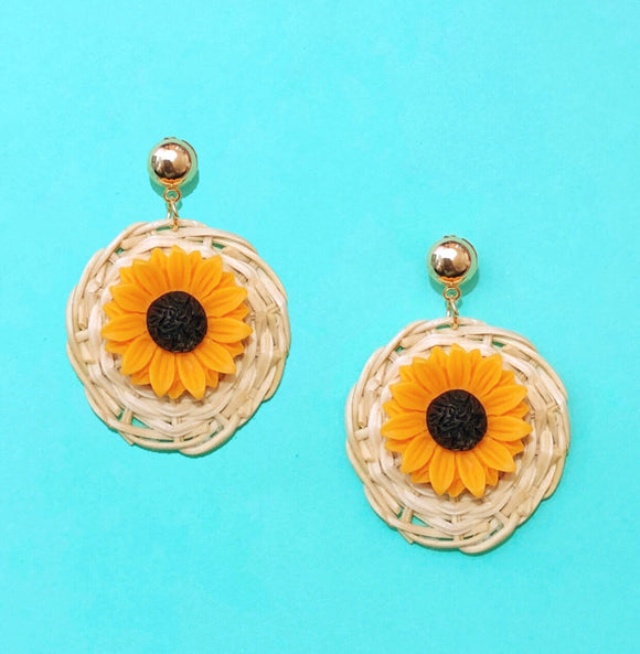 Round Wicker Sunflower Drop Earrings