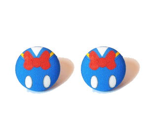 Minimalist Donald Duck Fabric Button Earrings