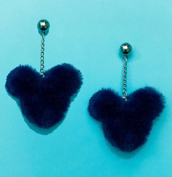 Navy Blue Plush Mouse Pom Pom Hanging Drop Earrings